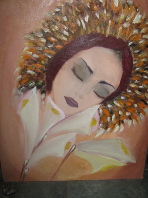 unfinished-girl with flowers